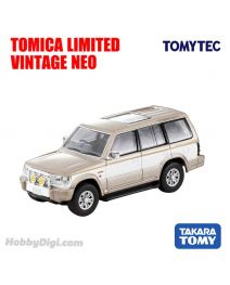 TOMYTEC Tomica Limited Vintage NEO Diecast Model Car - LV-N189c Mitsubishi Pajero Mid Roof Wide Super Exceed 91 Year (Beige / White)