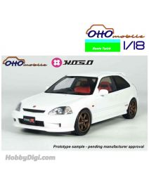 OttO Mobile X Route Twisk X KOSO 1:18 Resin Model Car - HONDA CIVIC TYPE R EK9 WITH SPORT WHEELS