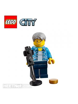 LEGO Loose Minifigure City: Hawaiian Shirt Old Man with Metal Detector and Gold