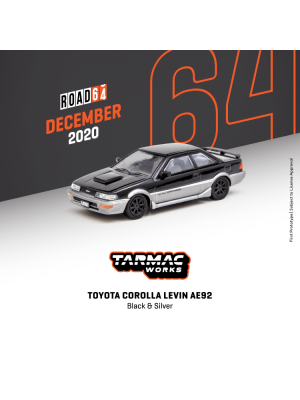 Tarmac Works HOBBY64 1:64 Diecast Model Car - Toyota Corolla Levin AE92 Black/ Grey