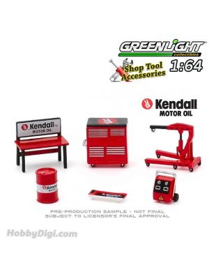 Greenlight 1:64 Diecast Model Car Accessories - Auto Body Shop - Shop Tool Accessories Series 3 - Kendall Motor Oil Solid Pack