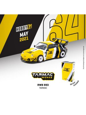 Tarmac Works HOBBY64 1:64 Diecast Model Car - RWB 993 Tarmac with Oil Can and Container