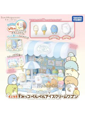 Takara Tomy Sumikko Gurashi Figure - Kuttsuki Sumikko Penpen Ice Cream Wagon (*Only 4 Sumikko Gurashi Figures Included)