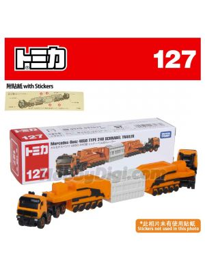 Tomica Diecast Model Car No127 - Mercedes-Benz 4850 240 Type Schnabel Type Trailer