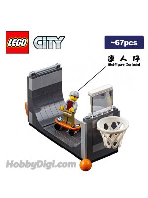 LEGO Loose Decoration and Minifigure City: Skate Ramp Half-pipe with Skateboarder