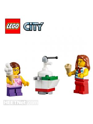 LEGO Loose Decoration and Minifigure City: Lady and GIrl with Ice Cream Machine