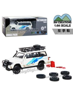 BM Creations Junior 1:64 Limited Edition Diecast Model Car - Mitsubishi 2Gen Pajero Jungle Pack - White (Left Hand Drive)