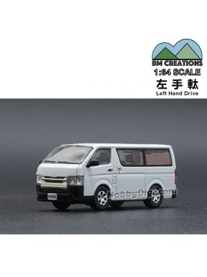 BM Creations Junior 1:64 Diecast Model Car - Toyota 2016 Hiace, White (Left Hand Drive)