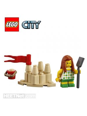 LEGO Loose Decoration and Minifigure City: Girl with Sandcastle and Shovel