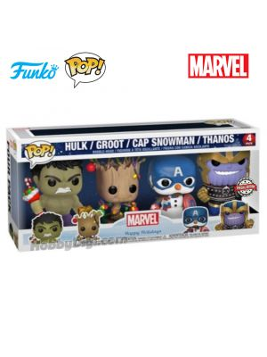 Funko Pop! Marvel : Marvel Holiday Set (Groot & Captain America & Thanos & Hulk)