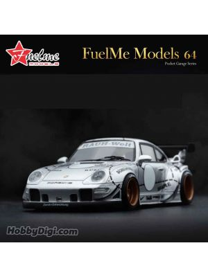 FuelMe 1:64 Limited Resin Model Car - RWB 993 Sliver Phantom Sliver Pig