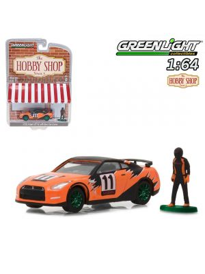 Greenlight 1:64 Limited Diecast Model Car - 2011 Nissan GT-R R35 with Race Car Driver