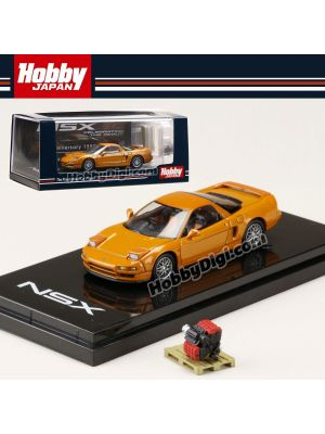 Hobby JAPAN Diecast Model Car - 1/64 Honda NSX (NA2) 1997 Type S ZERO With Engine Display Model Orange Pearl