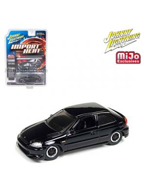 Johnny Lightning 1:64 MiJo Exclusives Diecast Model Car - Import Heat 2000 Honda Civic Custom Gloss Black