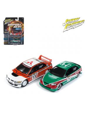 Johnny Lightning 1:64 Diecast Model Car - Import Heat Rally 2004 Mitsubishi Lancer Evolution and 2000 Honda Civic Hatchback
