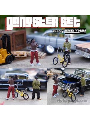 JMG 1/64 Miniatures X ResinWorks 1:64 Model Car Accessories Figures - Gangster Set (2 man + 1 Bike)