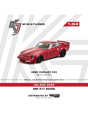 Tarmac Works KJ Miniatures 1:64 Diecast Model Car - LBWK FairLady S30 Metallic Red