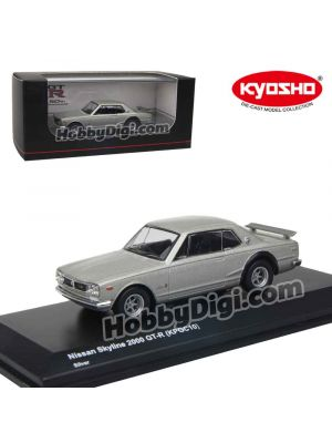 KYOSHO 1:64 Diecast Model Car - Nissan SKYLINE 2000GT-R (KPGC10) Silver with Base and Display Cover