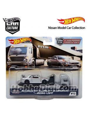 Hot Wheels Premium Nissan Model Car Collection 1:64 Diecast Model Car - Car Culture Team Transport Nissan Skyline GT-R (BNR34) AERO LIFT #12