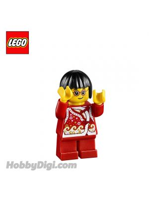 LEGO Loose Minifigure Seasonal : Child Girl with Red Shirt + Bows