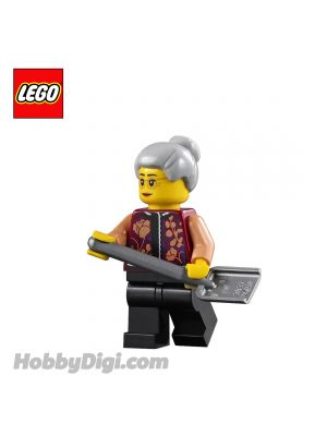 LEGO Loose Minifigure Seasonal : Grandmother with Floral Shirt and a Shovel