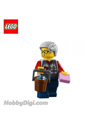 LEGO Loose Minifigure Seasonal : Grandfather with Argyle Cardigan and a Bucket