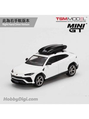 TSM 1:64 Mini GT 合金車 - Lamborghini Urus Bianco Monocerus Matt w/ Roof Box (右手軚)
