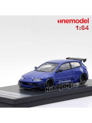 One Model 1:64 樹脂模型車 - Rocket Bunny CIVIC EG6 BLUE