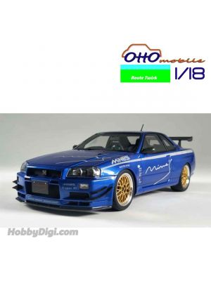 OttO Mobile X Route Twisk 1:18 樹脂模型車 - Nissan Skyline GT-R Mine's (R34) Bayside Blue (Limited 400 pcs)