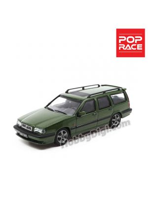 POP Race 1:64 Diecast Model Car - Volvo 850 T5-R Estate Olive Green Metallic
