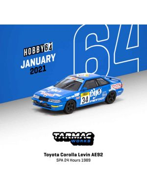 Tarmac Works HOBBY64 1:64 Diecast Model Car - Toyota Corolla Levin AE92 SPA 24 Hours 1989