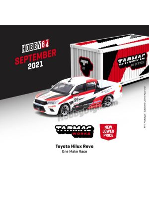 Tarmac Works HOBBY64 1:64 Diecast Model Car - Toyota Hilux Revo One Make Race with Container