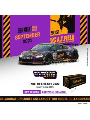 Tarmac Works COLLAB64 1:64 Diecast Model Car - Audi R8 LMS GT4 Super Taikyu STZ 2020 Nishimura / Okamoto / Tagahara / Fujiwara (Official Collaboration with ATFIELD EVANGELION WORK) with Container