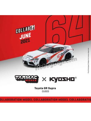 Tarmac Works COLLAB64 1:64 Diecast Model Car - Tarmac Works X Kyosho Toyota GR Supra CUSCO