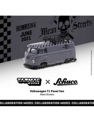 Tarmac Works COLLAB64 1:64 Diecast Model Car - Volkswagen T1 Panel Van Mean Streets Special Edition (include Oid Can)
