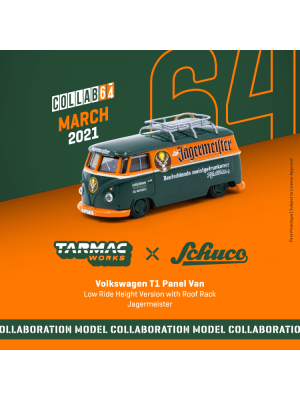 Tarmac Works COLLAB64 1:64 合金模型車 - Volkswagen T1 Panel Van Jagermeister Low Ride Height with Roof Rack