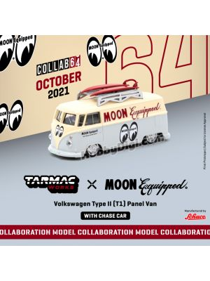 Tarmac Works COLLAB64 1:64 合金模型車 - Volkswagen Type II (T1) Panel Van Mooneyes with Roof Rack and Surfboard (Official Collaboration with Mooneyes)