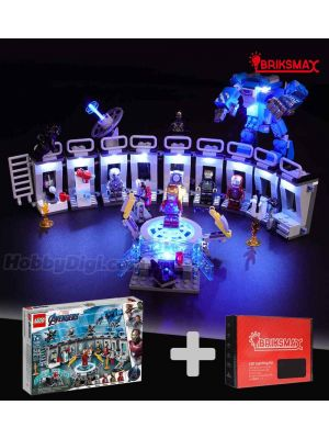 Briksmax Light Kit + LEGO Marvel Superheroes 76125 : Iron Man Hall of Armor (Bundle Set)