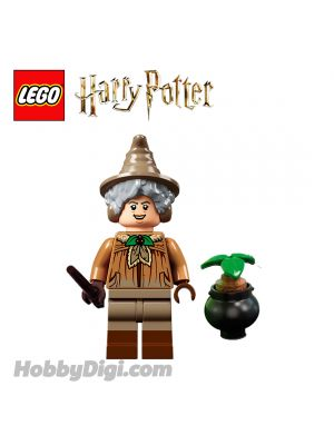 LEGO Loose Minifigure Harry Potter : Herbology lesson Professor Sprout with Plants