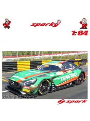 Spark Model Sparky 1:64 Diecast Model Car - Mercedes-AMG GT3 No.77 Mercedes-AMG Team Craft-Bamboo Racing - 6th FIA GT World Cup Macau 2019 - Edoardo Mortara