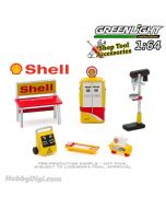 Greenlight 1:64 合金車配件 - Auto Body Shop - Shop Tool Accessories Series 3 - Shell Oil Solid Pack