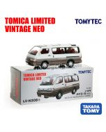 TOMYTEC Tomica Limited Vintage NEO Diecast Model Car - LV-N208a Hiace Super Custom Limited (White / Brown)