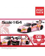 POPRACE 1:64 限量版合金車 - Audi R8 LMS EVA RT Production Model Custom Type-08 X Works with Mari Makinami Figure