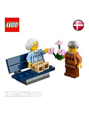 LEGO Loose Minifigure City: Grandmother and Grandfather with Chair and Flower