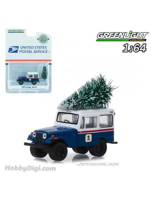 Greenlight 1:64 Diecast Model Car - 1972 Jeep DJ-5 United States Postal Service (USPS) - Blue with White Roof with Christmas Tree Accessory (Hobby Exclusive)