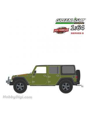 Greenlight 1:64 合金車 - All-Terrain Series 9 - 2010 Jeep Wrangler Unlimited Mountain Edition - Rescue Green Solid Pack