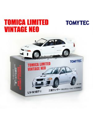 TOMYTEC Tomica Limited Vintage NEO Diecast Model Car - LV-N187c Mitsubishi Lancer RS Evolution V (White)