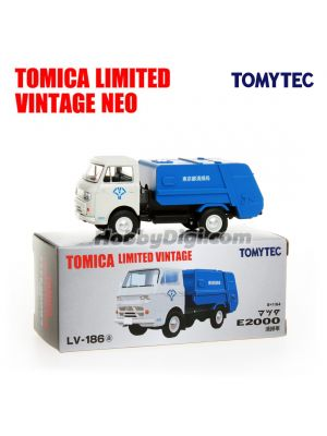 TOMYTEC Tomica Limited Vintage NEO Diecast Model Car - LV-186a Mazda E2000 cleaning car (White / Blue)
