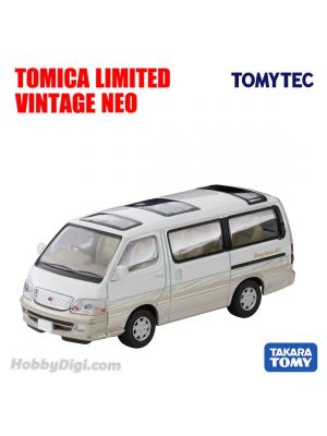 TOMYTEC Tomica Limited Vintage NEO Diecast Model Car - LV-N216a Toyota Hiace Wagon Living Saloon EX 2002 (White /Beige)