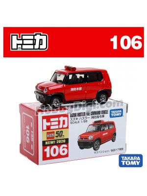 [2020 Sticker] Tomica Diecast Model Car No106 - Suzuki Hustler Fire Command Vehicle